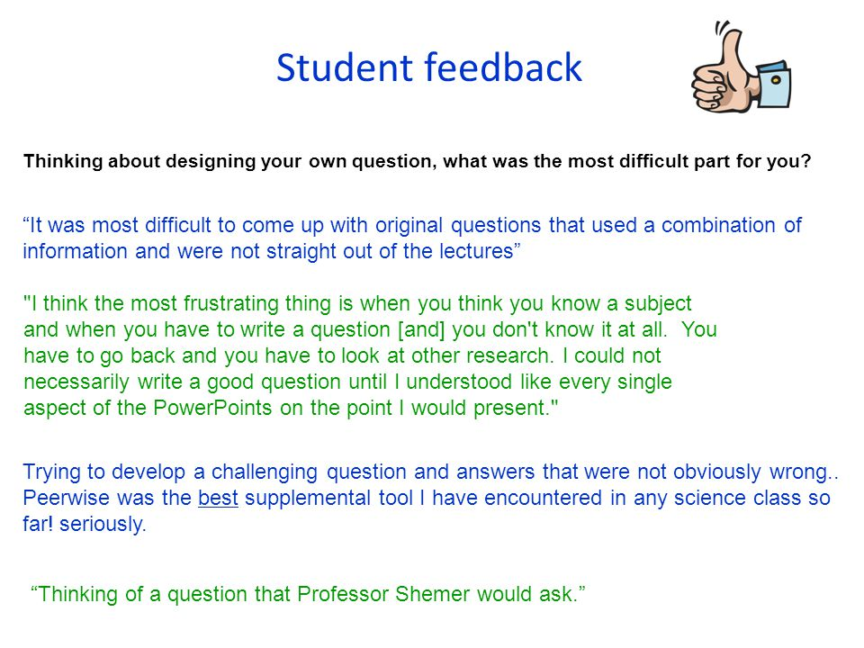 Student feedback Thinking about designing your own question, what was the most difficult part for you