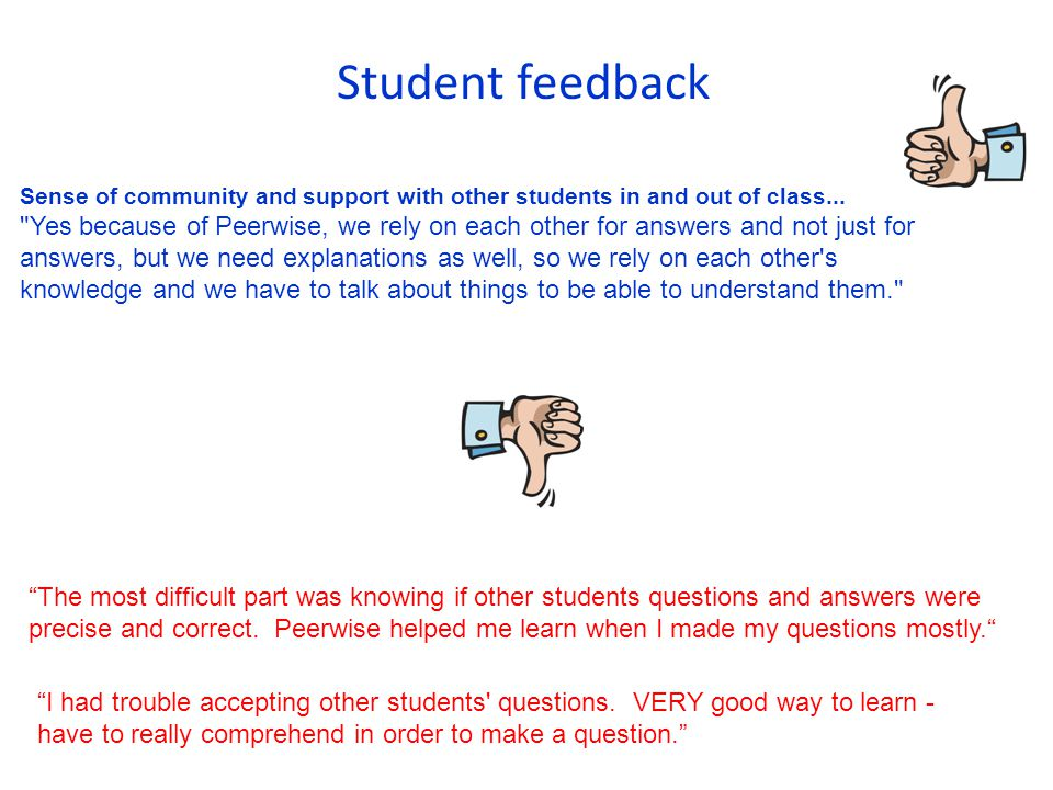 Student feedback Sense of community and support with other students in and out of class...