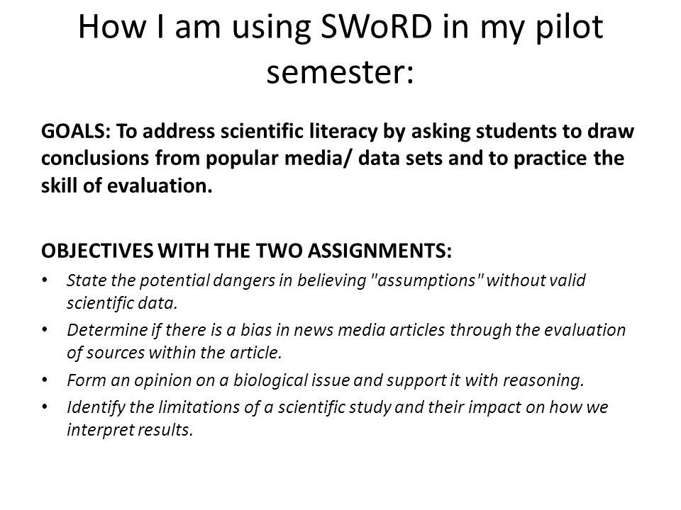 How I am using SWoRD in my pilot semester: