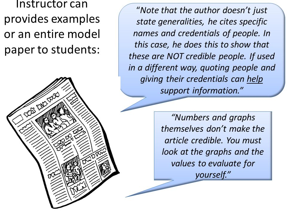 Instructor can provides examples or an entire model paper to students: