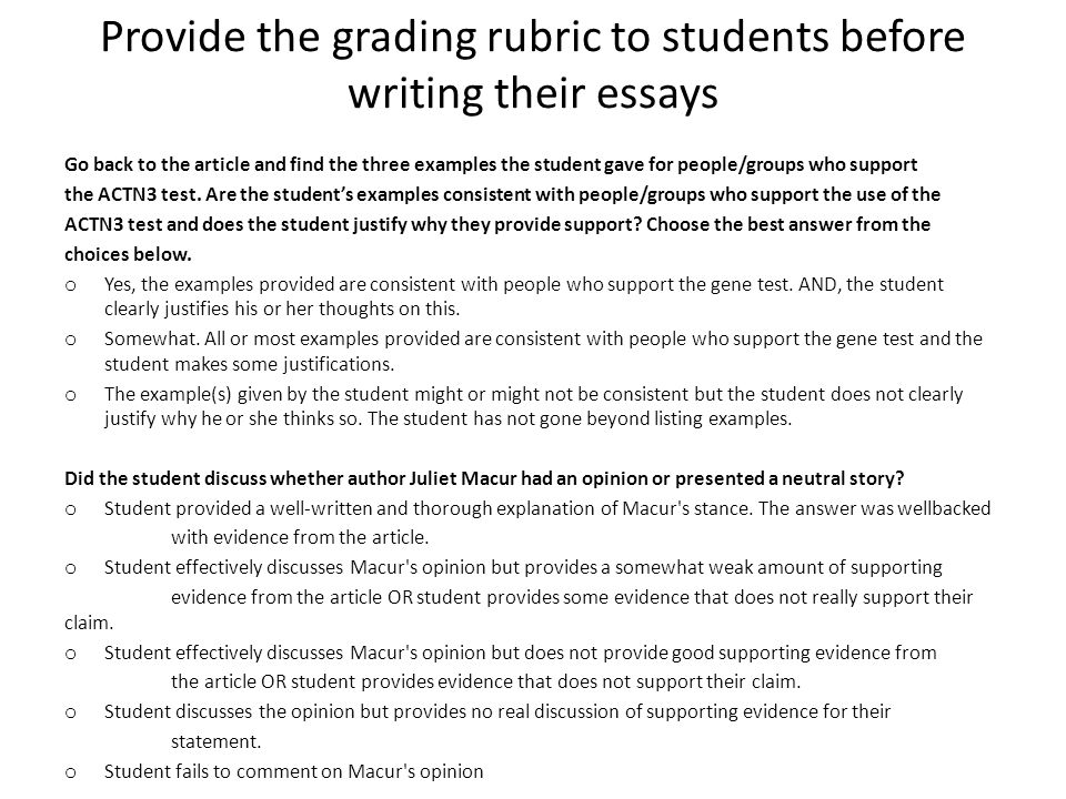 Provide the grading rubric to students before writing their essays