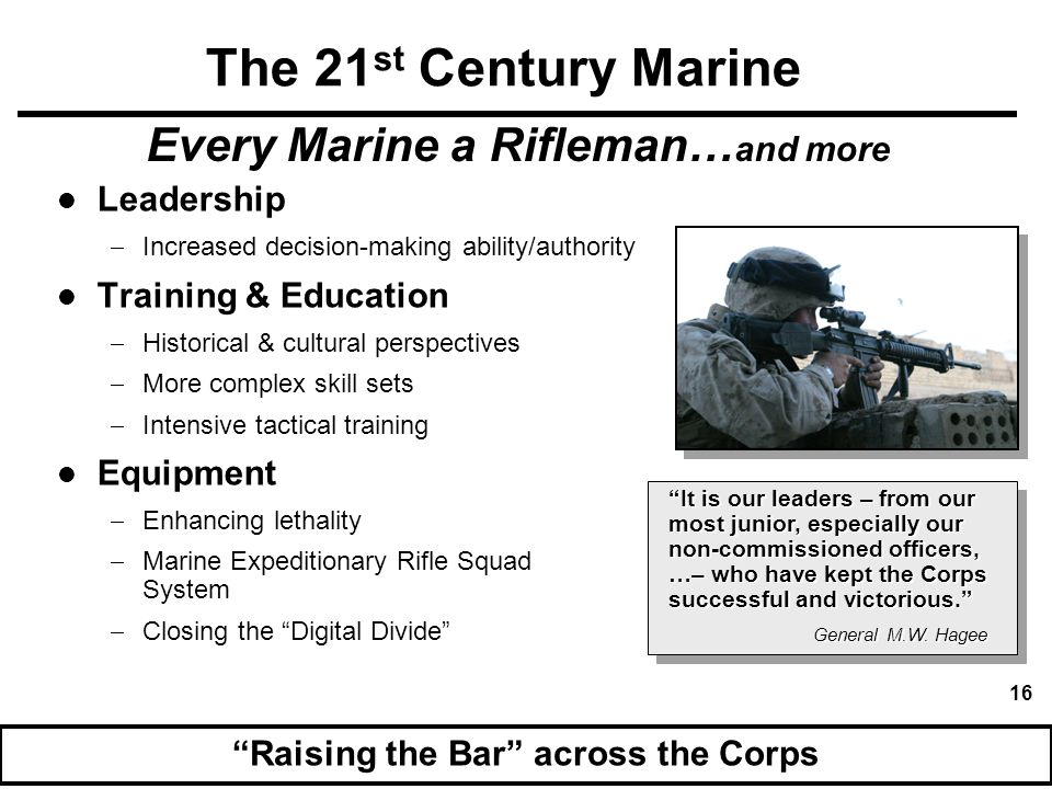Every Marine a Rifleman…and more Raising the Bar across the Corps
