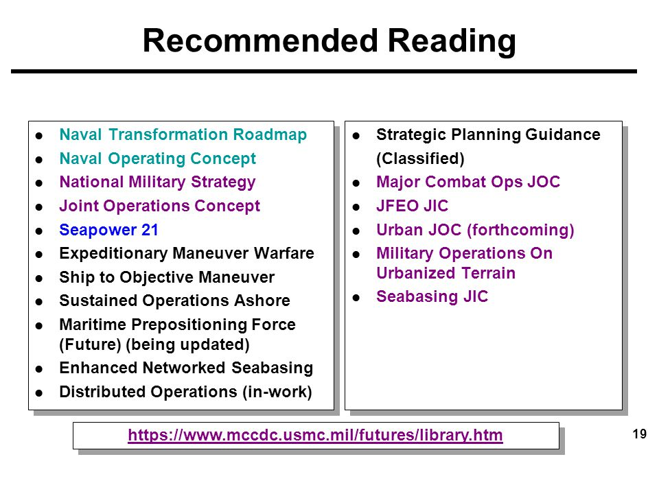 Recommended Reading Naval Transformation Roadmap