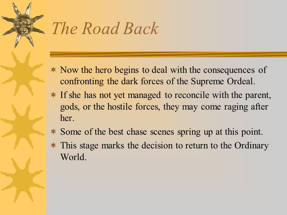 The Road Back Now the hero begins to deal with the consequences of confronting the dark forces of the Supreme Ordeal.