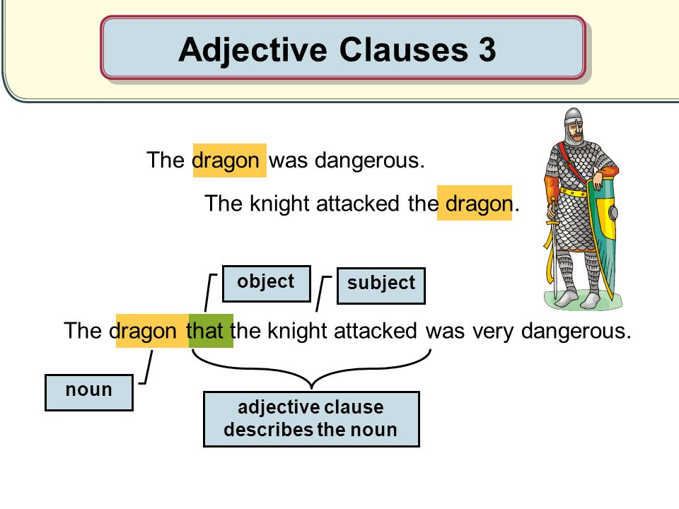 adjective clause describes the noun