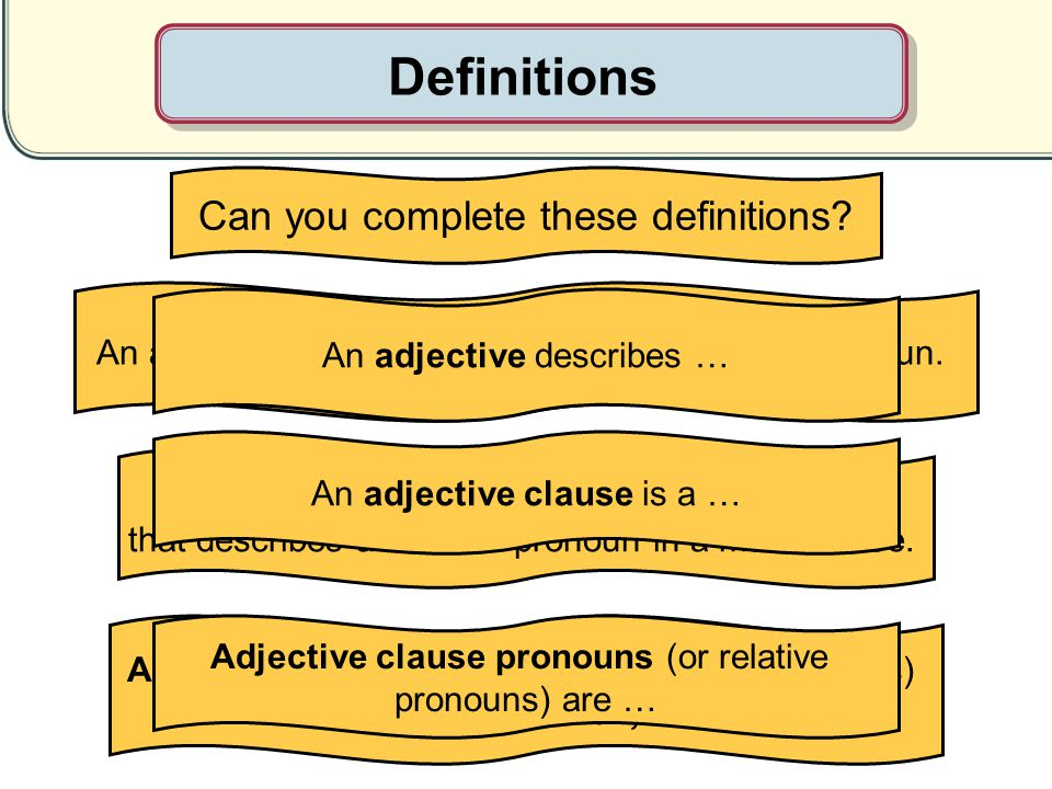 Definitions Can you complete these definitions