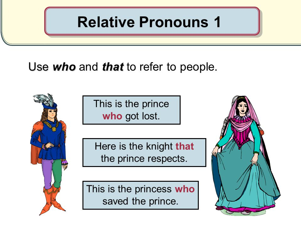 Relative Pronouns 1 Use who and that to refer to people.