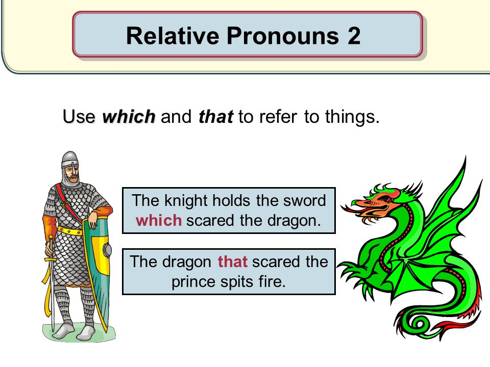 Relative Pronouns 2 Use which and that to refer to things.