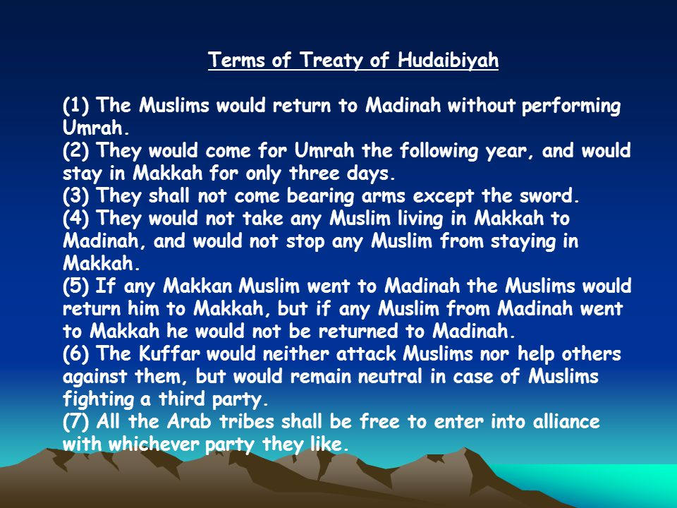 Terms of Treaty of Hudaibiyah