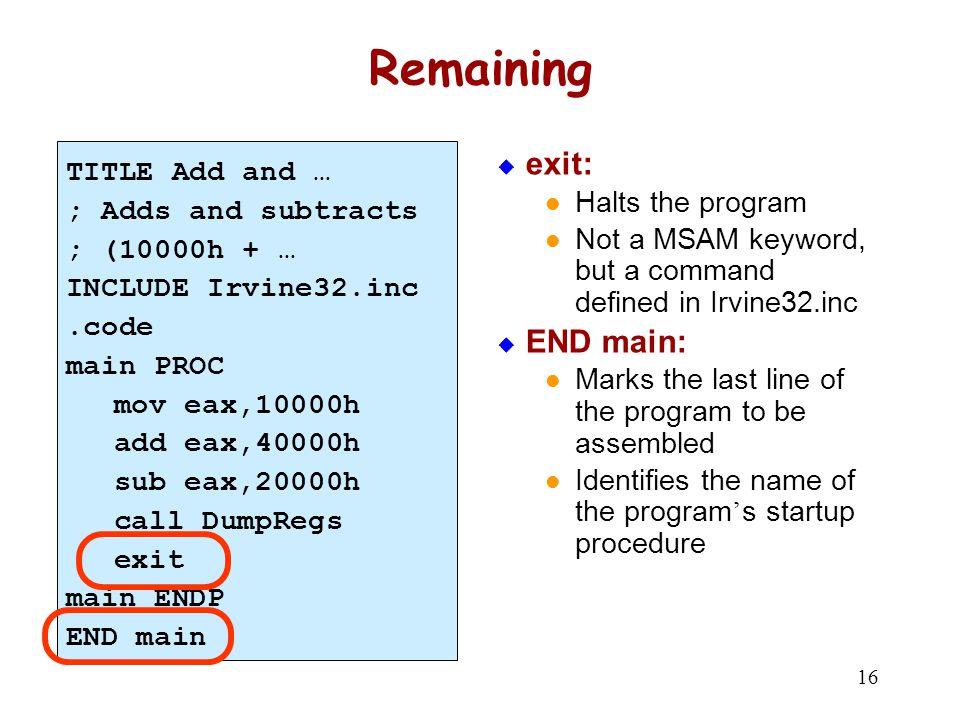 Example Program Output