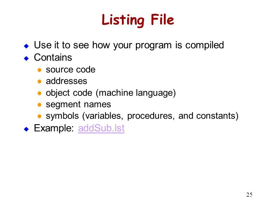 Listing File 00000000 .code 00000000 main PROC