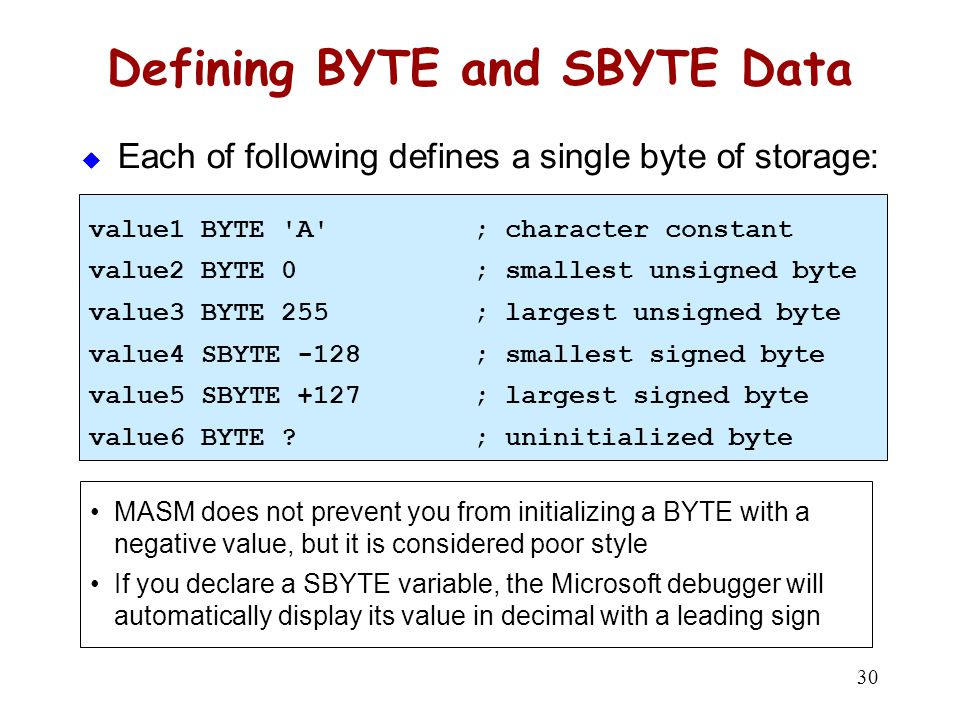 Defining Byte Arrays Examples that use multiple initializers: