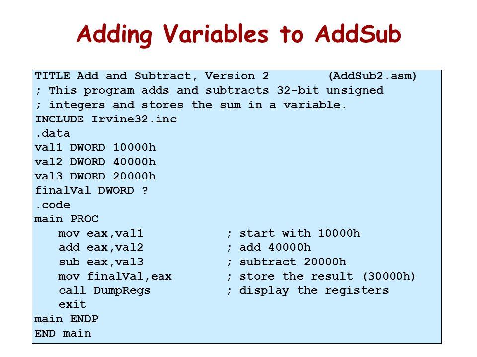 Listing File 00000000 .data 00000000 00010000 val1 DWORD 10000h