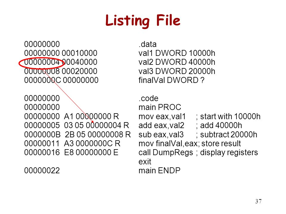 C vs Assembly main() .data { val1 DWORD 10000h int val1=10000h;