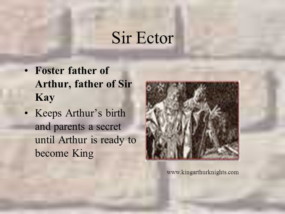 Sir Ector Foster father of Arthur, father of Sir Kay