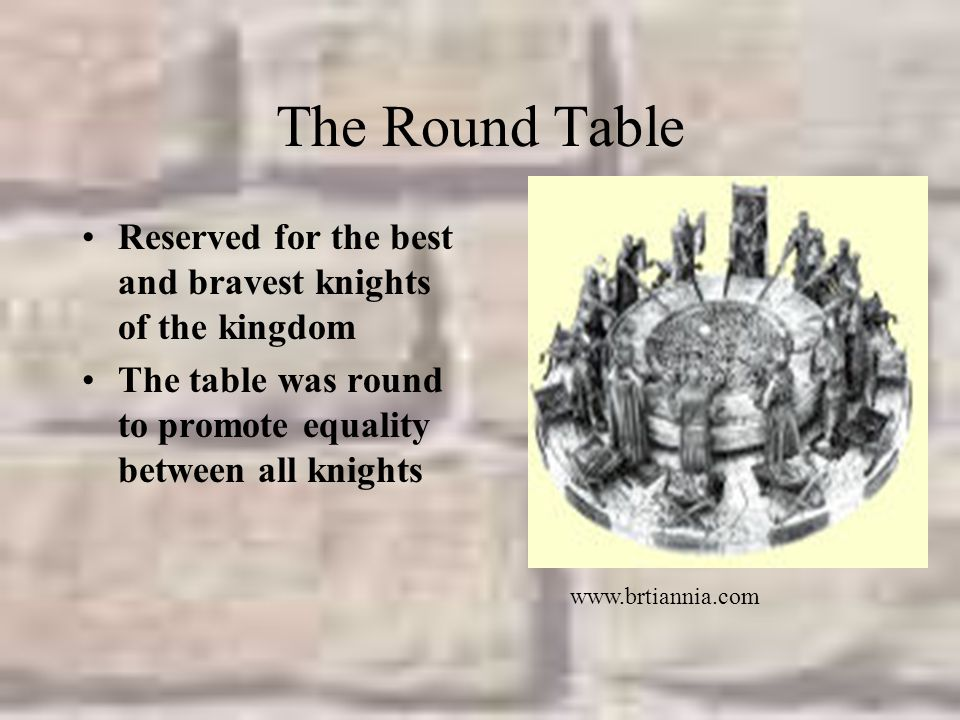 The Round Table Reserved for the best and bravest knights of the kingdom. The table was round to promote equality between all knights.