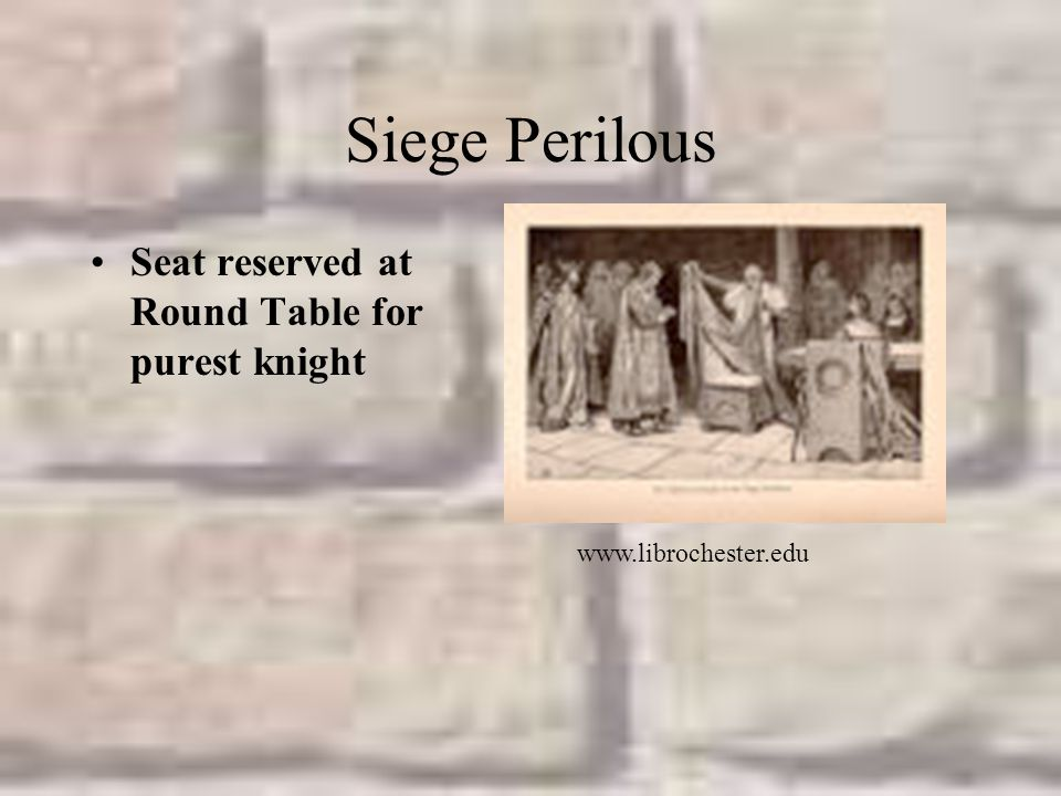 Siege Perilous Seat reserved at Round Table for purest knight