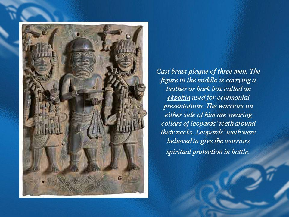 Cast brass plaque of three men
