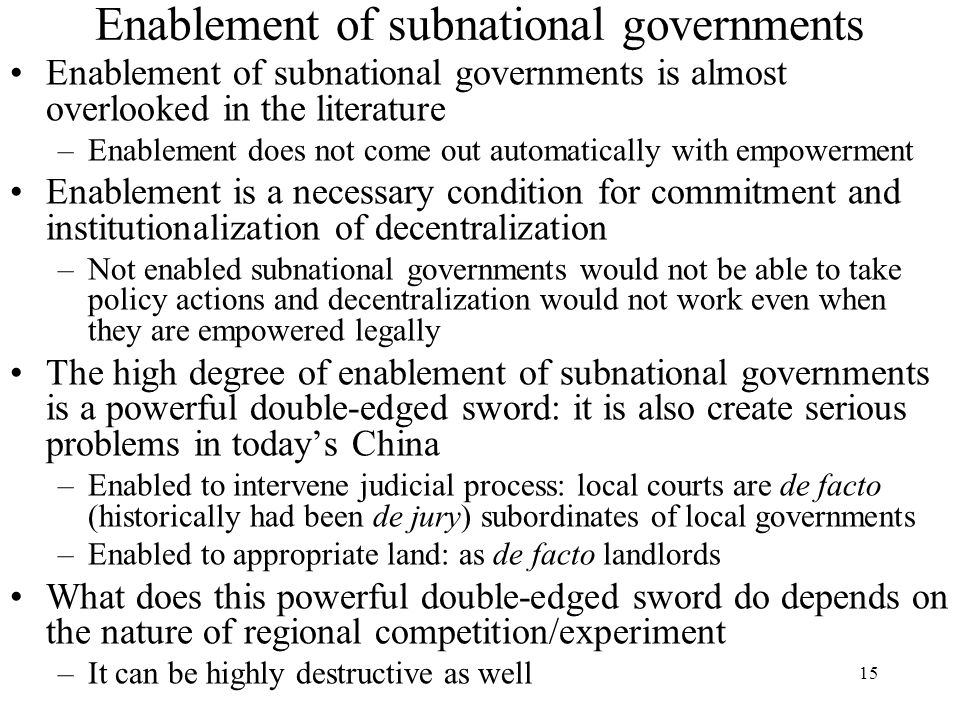 Enablement of subnational governments