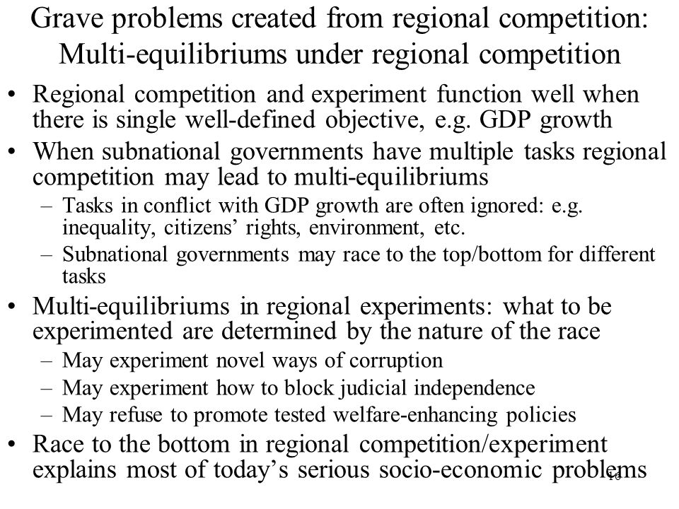 Grave problems created from regional competition: Multi-equilibriums under regional competition