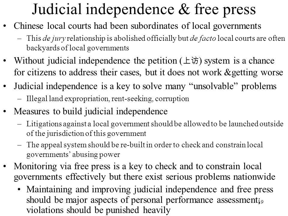 Judicial independence & free press
