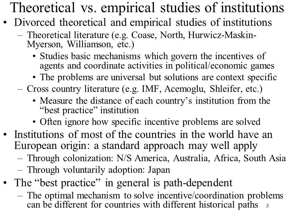 Theoretical vs. empirical studies of institutions
