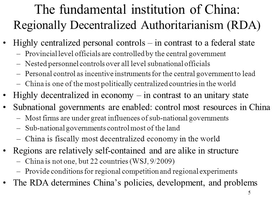 The fundamental institution of China: Regionally Decentralized Authoritarianism (RDA)