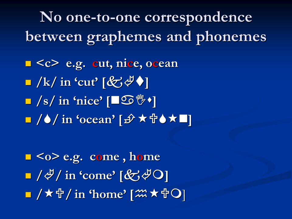 No one-to-one correspondence between graphemes and phonemes