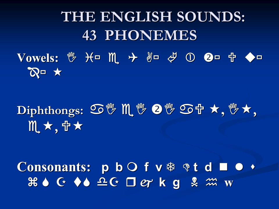 THE ENGLISH SOUNDS: 43 PHONEMES