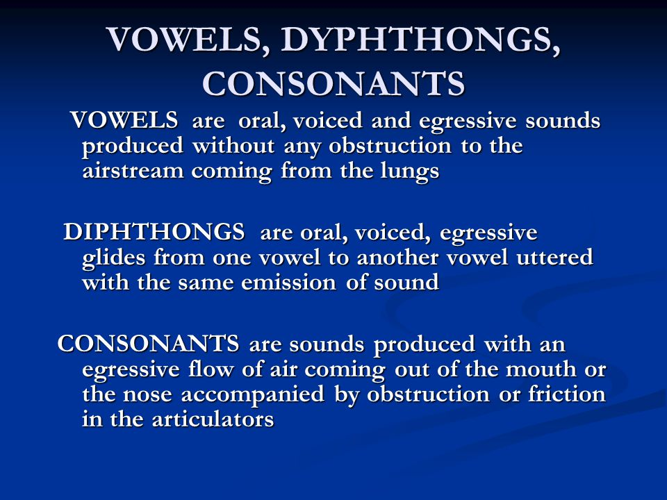 VOWELS, DYPHTHONGS, CONSONANTS