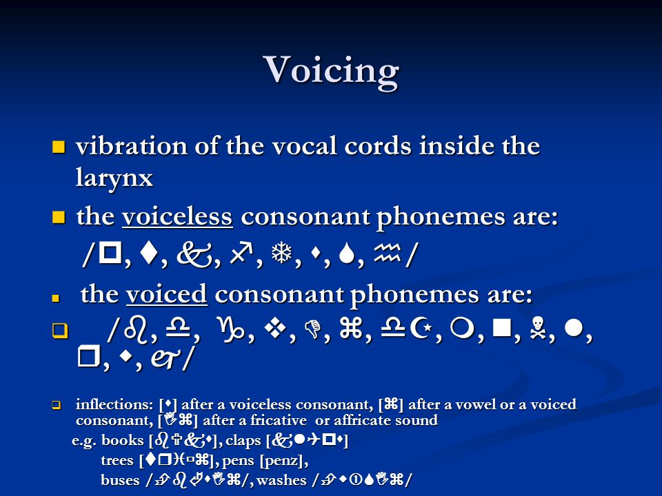 Voicing vibration of the vocal cords inside the larynx