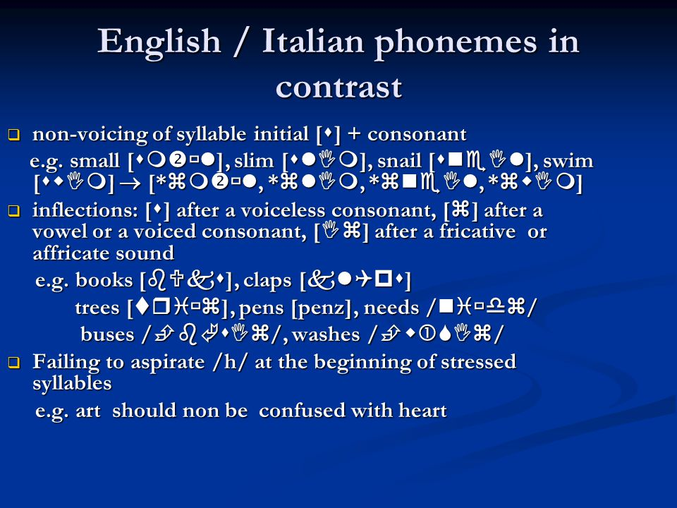 English / Italian phonemes in contrast
