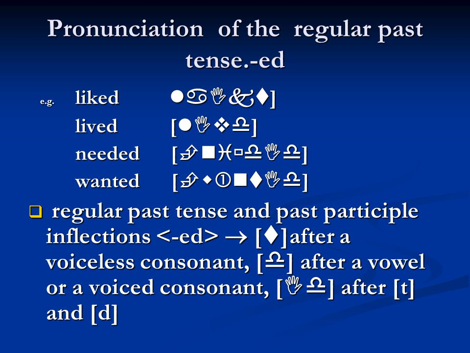 Pronunciation of the regular past tense.-ed