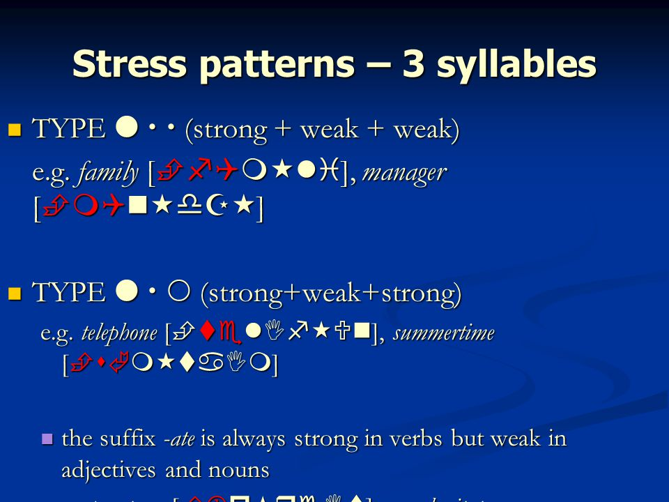Stress patterns – 3 syllables