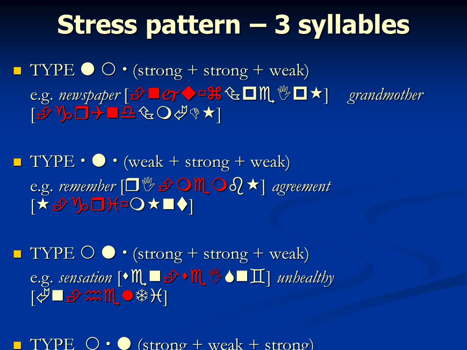 Stress pattern – 3 syllables