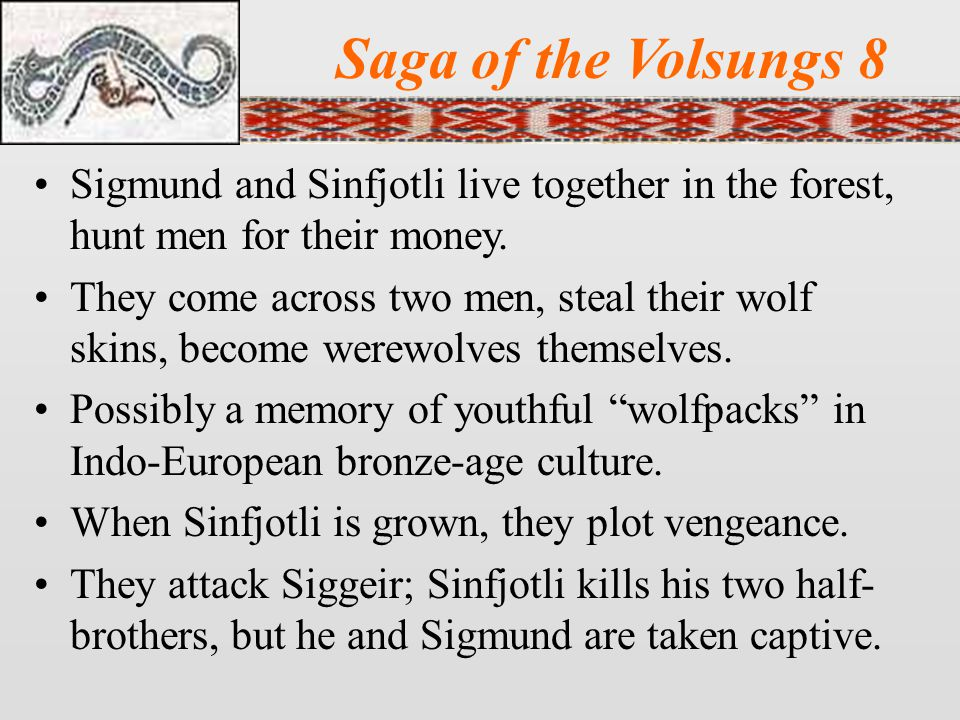 Saga of the Volsungs 8 Sigmund and Sinfjotli live together in the forest, hunt men for their money.