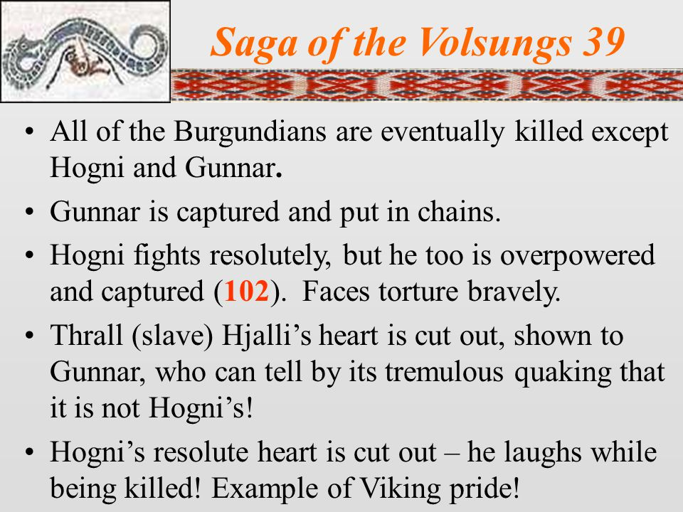 Saga of the Volsungs 39 All of the Burgundians are eventually killed except Hogni and Gunnar. Gunnar is captured and put in chains.