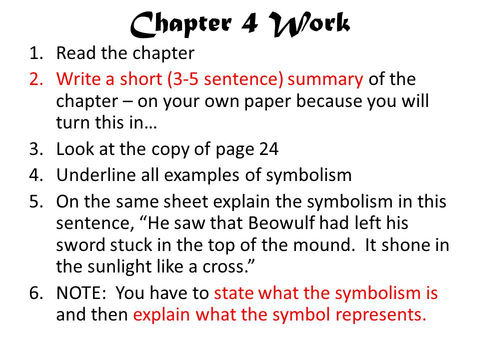Chapter 4 Work Read the chapter