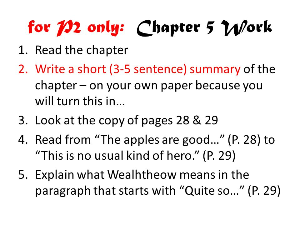 for P2 only: Chapter 5 Work