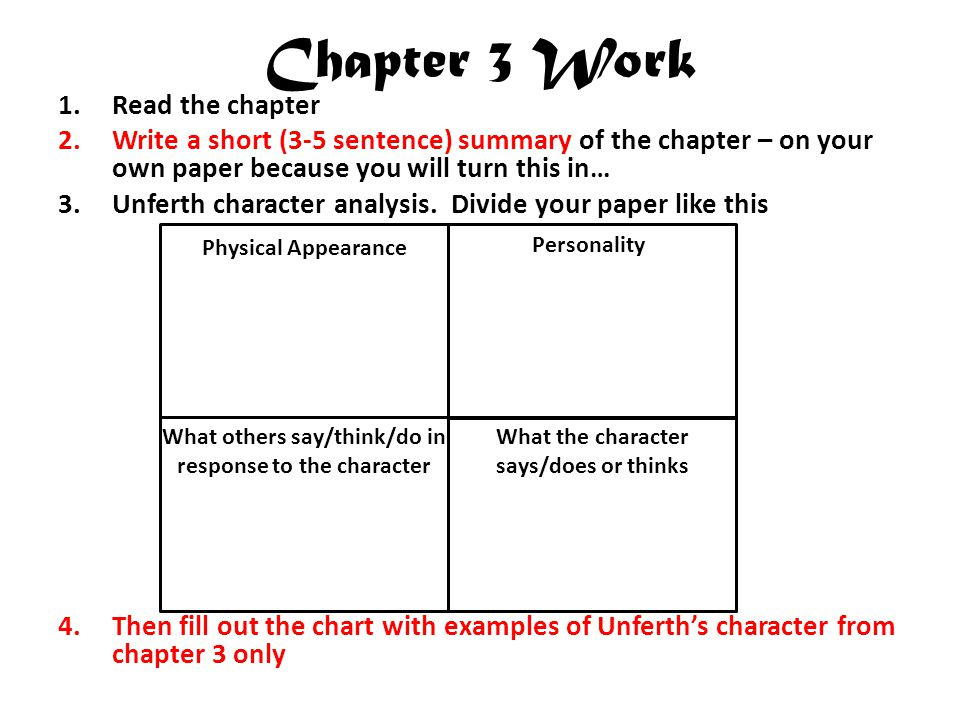 Chapter 3 Work Read the chapter