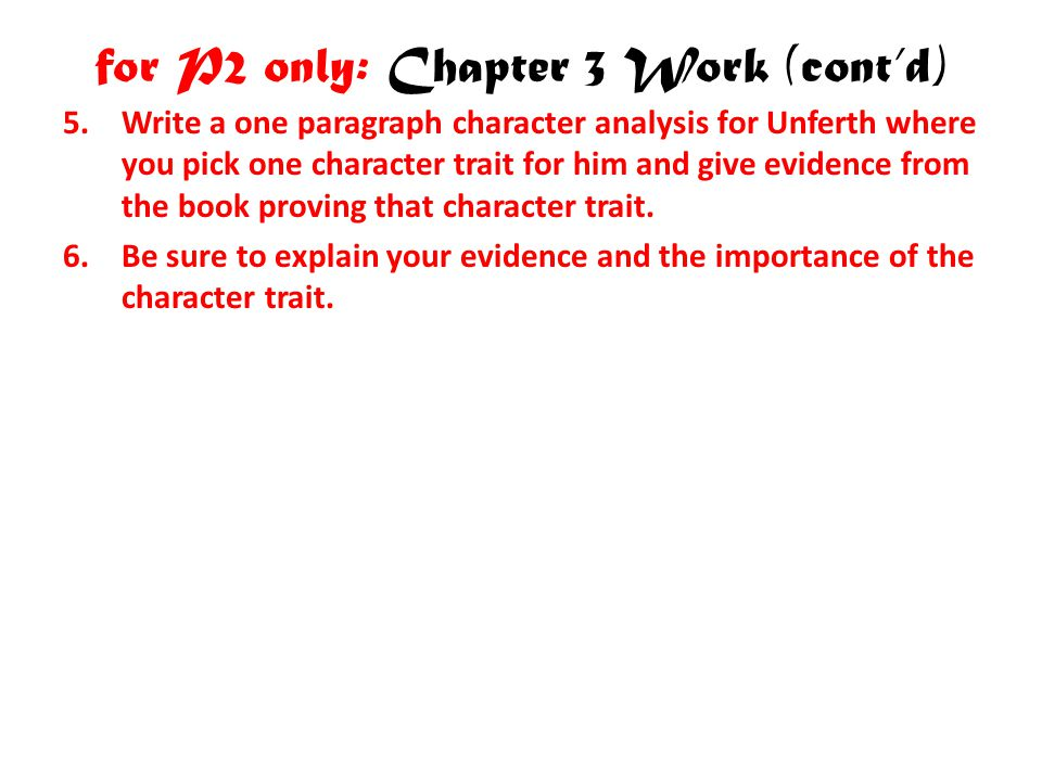 for P2 only: Chapter 3 Work (cont'd)