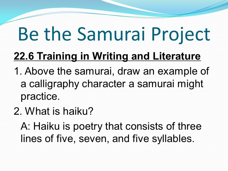 Be the Samurai Project