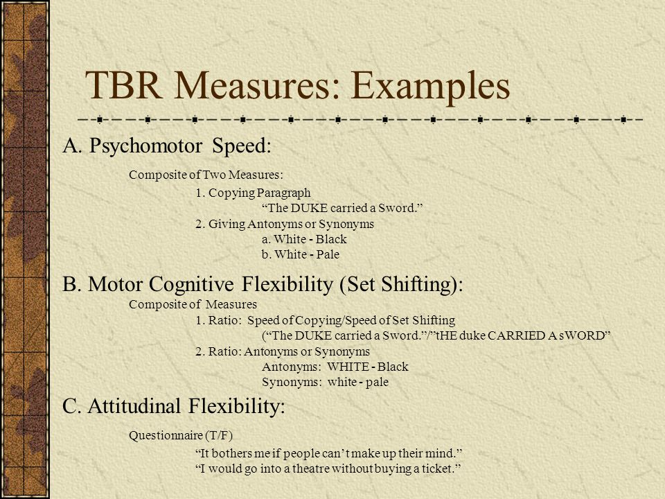 TBR Measures: Examples