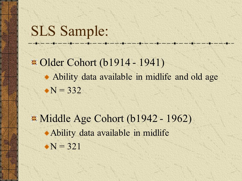 SLS Sample: Older Cohort (b1914 - 1941)