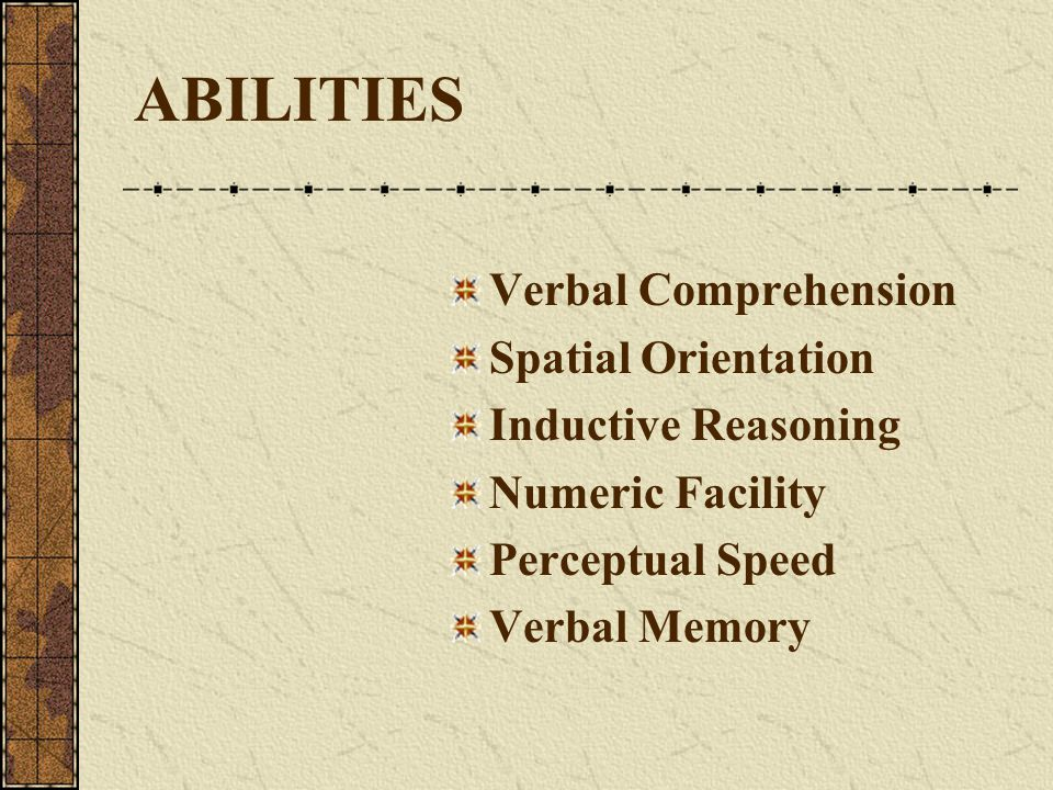 ABILITIES Verbal Comprehension Spatial Orientation Inductive Reasoning