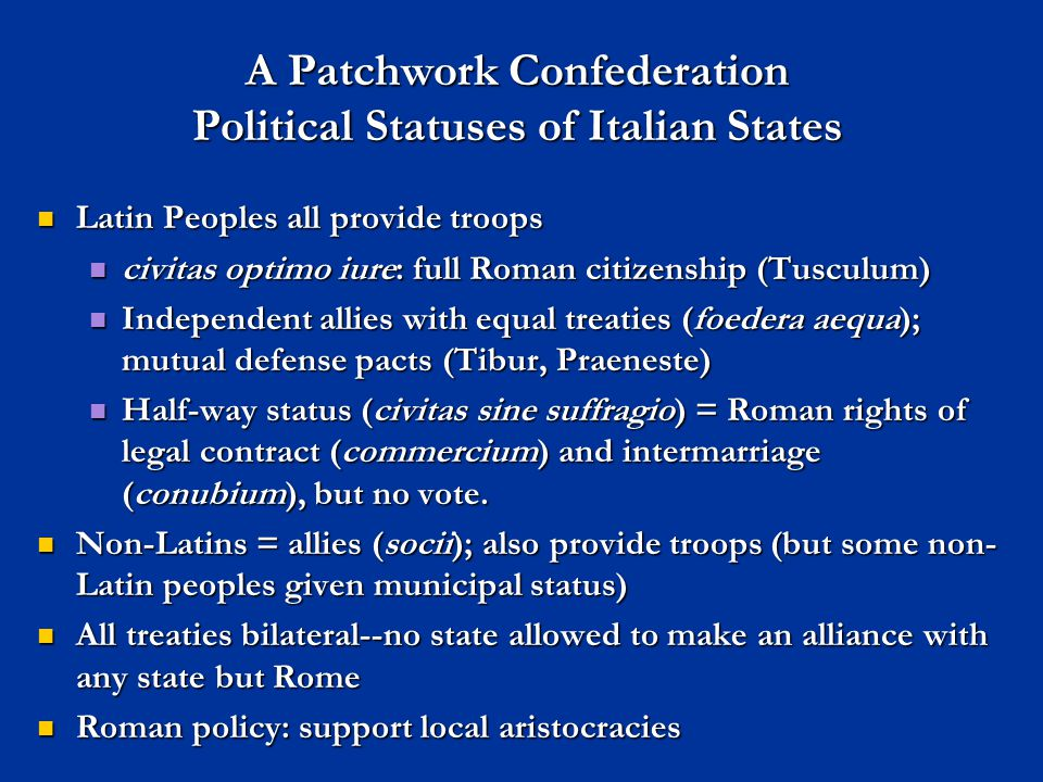 A Patchwork Confederation Political Statuses of Italian States