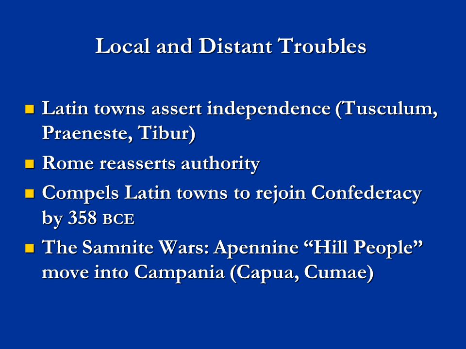 Local and Distant Troubles
