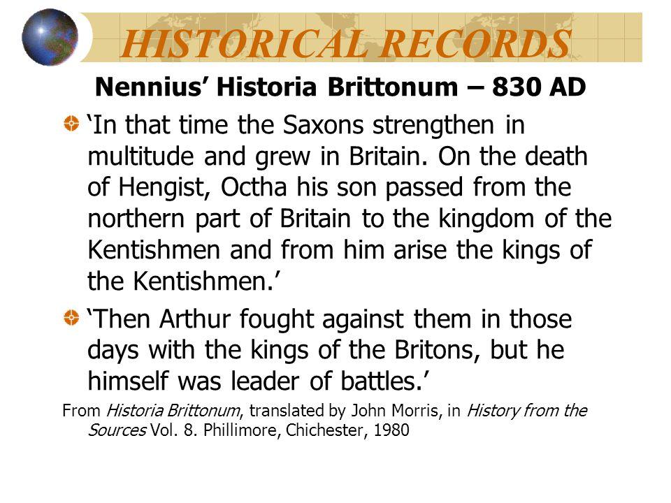 Nennius' Historia Brittonum – 830 AD
