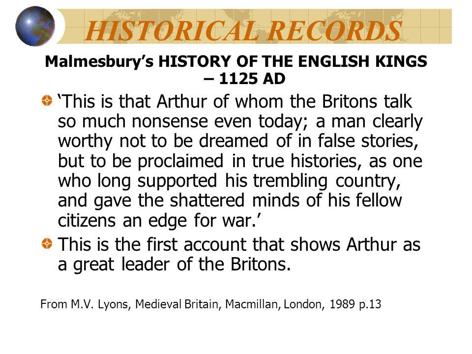 Malmesbury's HISTORY OF THE ENGLISH KINGS – 1125 AD