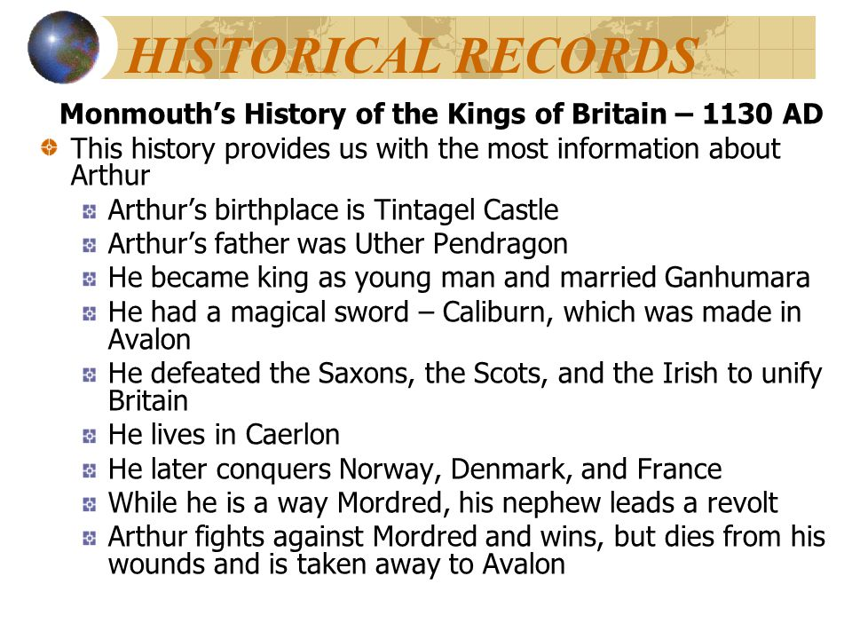 Monmouth's History of the Kings of Britain – 1130 AD